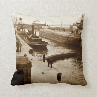 Whalebacks at the Soo Sault Ste. Marie Michigan Throw Pillow