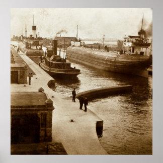 Whalebacks in the Soo Locks, Sault Ste. Marie, MI Poster