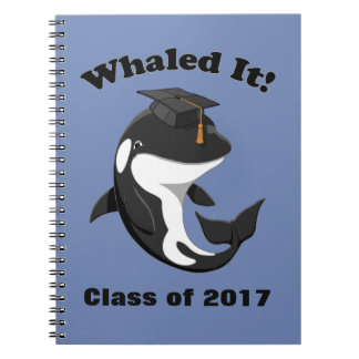 Whaled It Class of 2017 Cute Orca Killer Whale Note Books