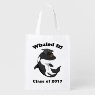 Whaled It Class of 2017 Cute Orca Killer Whale Reusable Grocery Bag