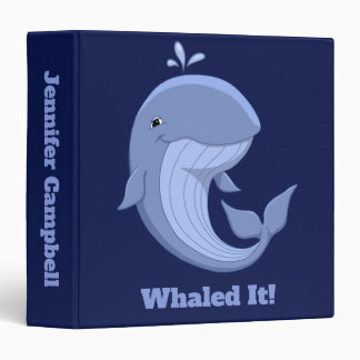 Whaled It Cute Happy Blue Whale 3 Ring Binder