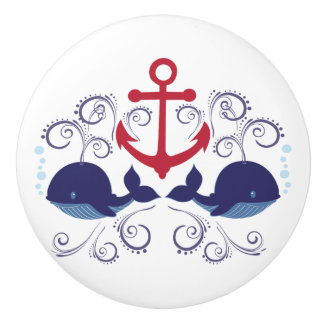 Whales and Anchor Nautical Tees, Gifts Ceramic Knob