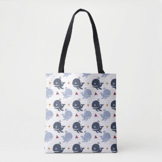 Whales and Boats Graphic Tote Bag