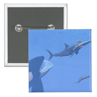 Whales and megalodon underwater - 3D render 2 Inch Square Button