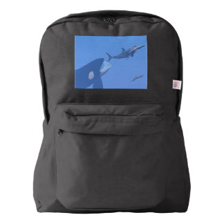 Whales and megalodon underwater - 3D render Backpack