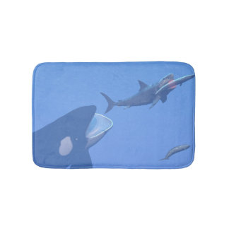 Whales and megalodon underwater - 3D render Bath Mat