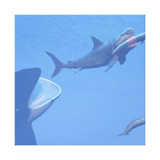Whales and megalodon underwater - 3D render Canvas Print