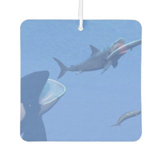 Whales and megalodon underwater - 3D render Car Air Freshener
