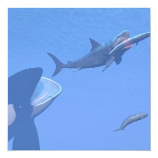 Whales and megalodon underwater - 3D render Card