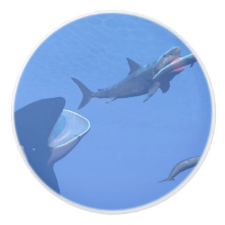 Whales and megalodon underwater - 3D render Ceramic Knob