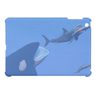Whales and megalodon underwater - 3D render Cover For The iPad Mini