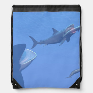 Whales and megalodon underwater - 3D render Drawstring Bag