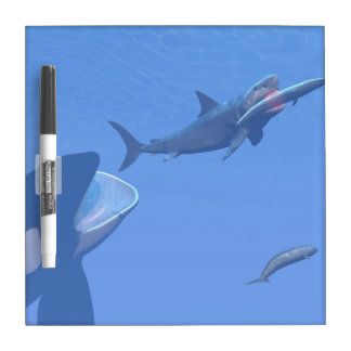 Whales and megalodon underwater - 3D render Dry Erase Board