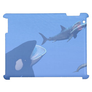 Whales and megalodon underwater - 3D render iPad Cover