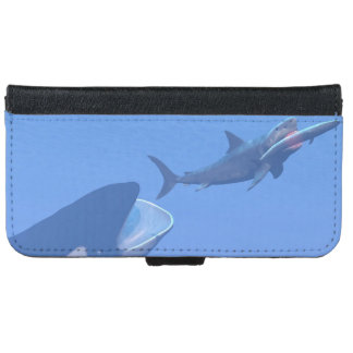 Whales and megalodon underwater - 3D render iPhone 6 Wallet Case