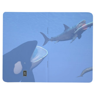 Whales and megalodon underwater - 3D render Journal
