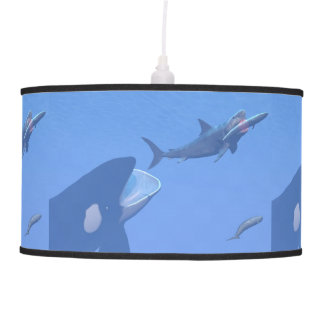 Whales and megalodon underwater - 3D render Pendant Lamp