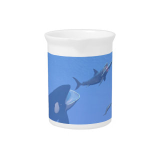 Whales and megalodon underwater - 3D render Pitcher