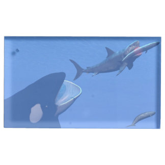 Whales and megalodon underwater - 3D render Place Card Holder