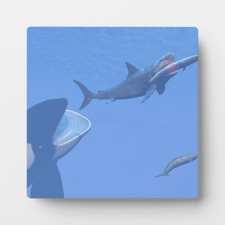 Whales and megalodon underwater - 3D render Plaque