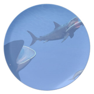 Whales and megalodon underwater - 3D render Plate