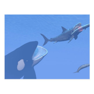 Whales and megalodon underwater - 3D render Postcard