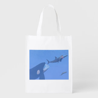 Whales and megalodon underwater - 3D render Reusable Grocery Bag