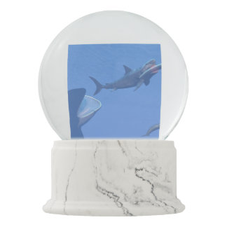 Whales and megalodon underwater - 3D render Snow Globe