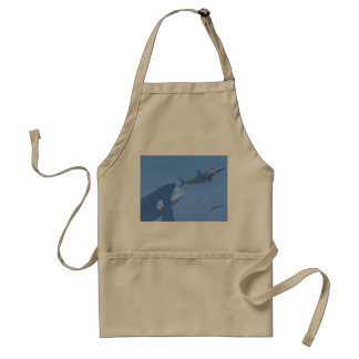 Whales and megalodon underwater - 3D render Standard Apron