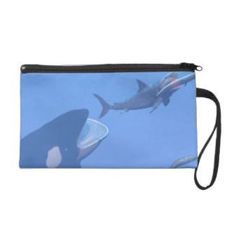 Whales and megalodon underwater - 3D render Wristlet Purse