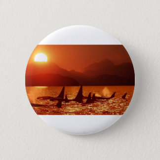 Whales At Sunset 2 Inch Round Button