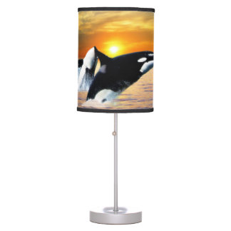 Whales at sunset table lamp