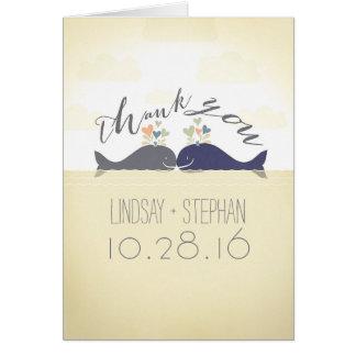 whales cute romantic modern wedding thank you card