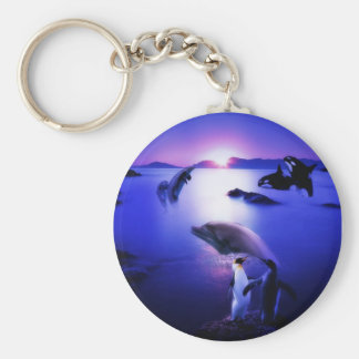 Whales dolphins penguins ocean sunset basic round button keychain