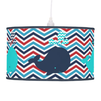 Whales on Red, White, Blue Chevron Pendant Lamp