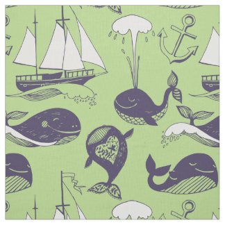 Whales, Ships and Anchors ID488 Fabric