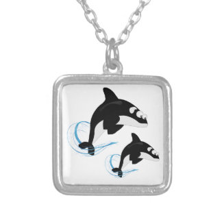 whales silver plated necklace