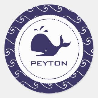Whales Tale Pink & Wavy Navy Invitation Round Sticker