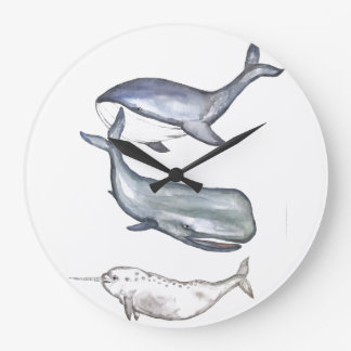 Whales, whale family, humpback whale, humpback large clock
