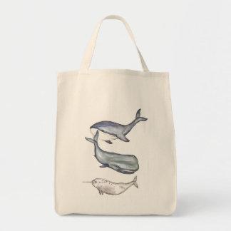 Whales, whale family, jute bag