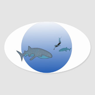 Whalesharks and Free Diver Oval Sticker