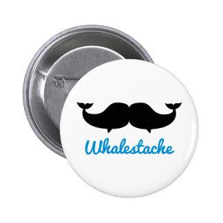 Whalestache Moustache whales 2 Inch Round Button