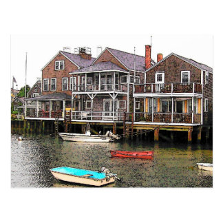 Wharf Cottages - VINTAGE LOOK Postcard