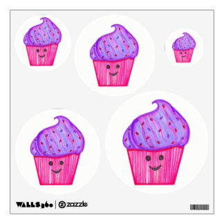 WhassupCake Purple & Pink Cupcake Wall Decals