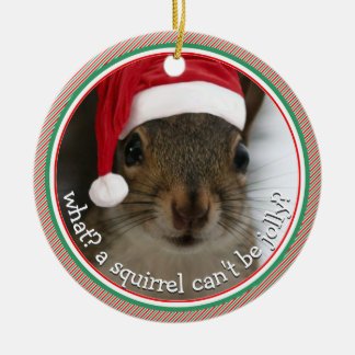 What? A Squirrel Can't Be Jolly? ONE-SIDED Ceramic Ornament