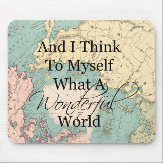 What A Wonderful World Mouse Map - Vintage Map Mouse Pad