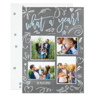 What A Year Doodles Holiday Collage 4 Photo Card