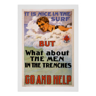 What About the Men in the Trenches (white) Poster