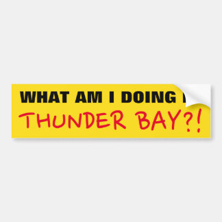 """WHAT AM I DOING IN THUNDER BAY?!"" Bumper Sticker"