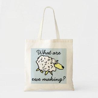 """What are ewe making?"" Sheep Cartoon Project Bag"